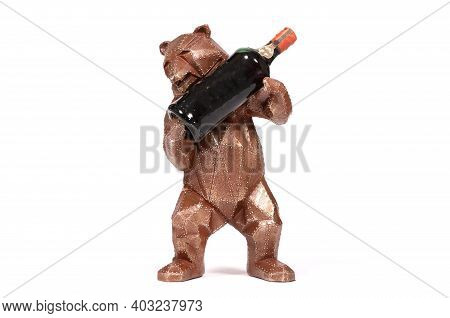 Metal Grizzly Bear With A Bottle Of Liquor, Isolated On White Background