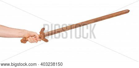 Chinese Wooden Sword Isolated On A White Background