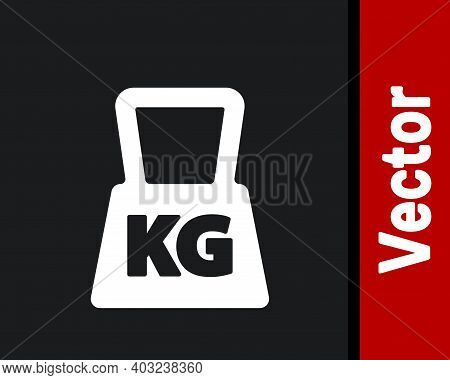 White Weight Icon Isolated On Black Background. Kilogram Weight Block For Weight Lifting And Scale.