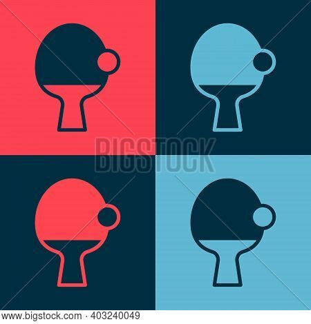 Pop Art Racket For Playing Table Tennis Icon Isolated On Color Background. Vector