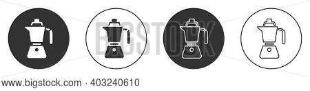 Black Coffee Maker Moca Pot Icon Isolated On White Background. Circle Button. Vector