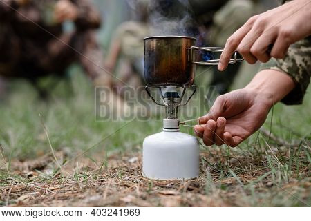 Water Boiling At Picnic Hiking Cooker Balloon.