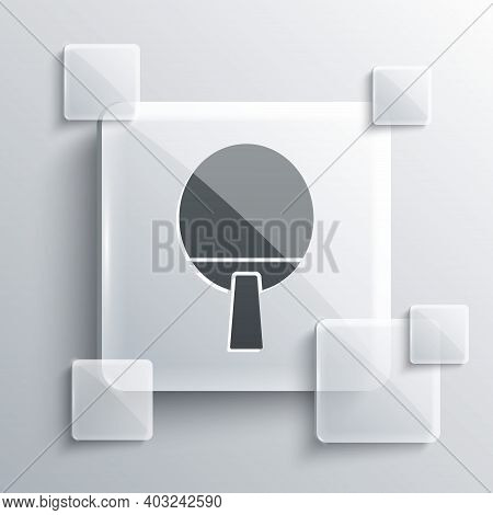 Grey Racket For Playing Table Tennis Icon Isolated On Grey Background. Square Glass Panels. Vector