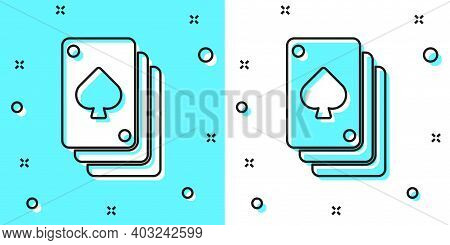 Black Line Playing Cards Icon Isolated On Green And White Background. Casino Gambling. Random Dynami
