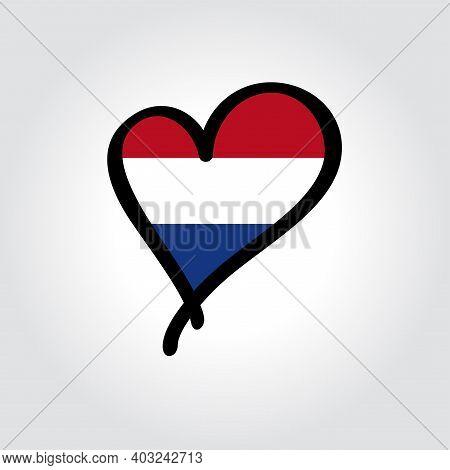 Dutch Flag Heart-shaped Hand Drawn Logo. Vector Illustration.