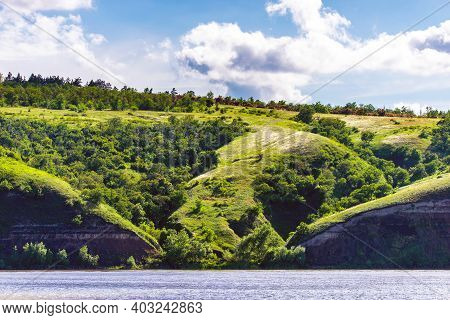 Panoramic View Of The River Don And Hills, Slopes, Steppe Coast, Gully, Ravine On A Banks