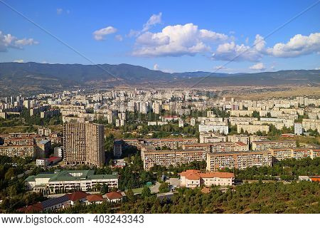 Panoramic Aerial View Of The Suburb Of Tbilisi As Seen From The Chronicle Of Georgia, Tbilisi, Georg