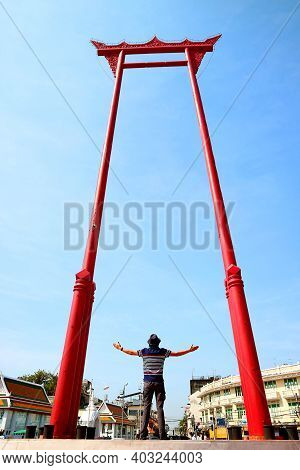 Man Being Impressed By The Giant Swing Or Sao Ching Cha, Teak Wood Swing Formerly Used In Old Ceremo