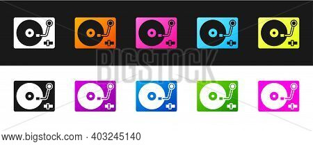 Set Vinyl Player With A Vinyl Disk Icon Isolated On Black And White Background. Vector