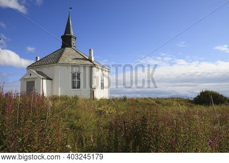 Vesteralen Islands / Norway - August 31, 2017: Dverberg Church Located At Dverberg On Andøya. The Ch