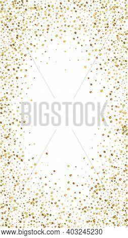 Festive Modern Confetti. Celebration Stars. Gold Confetti On White Background. Fascinating Festive O