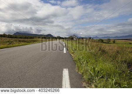 Vesteralen Islands / Norway - August 31, 2017: Coast Road, Vesteralen, Vesterålen, Nordland, Norway,