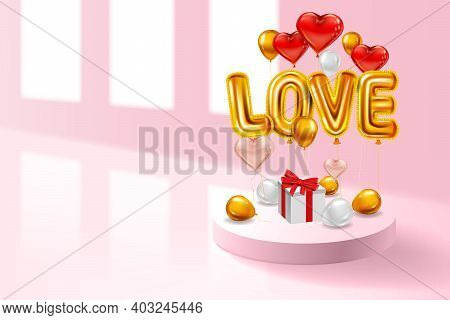 Love Red Helium Metallic Glossy Balloons Realistic, Box Gift, Inerior Pedestal, Heart Shape Flying G