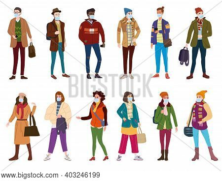 Set Young People Womans Mans In Modern Spring Autumn Trendy Clothes. In Medical Mask, Individual Pro