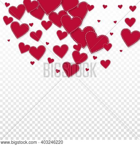 Red Heart Love Confettis. Valentines Day Semicircle Dramatic Background. Falling Stitched Paper Hear