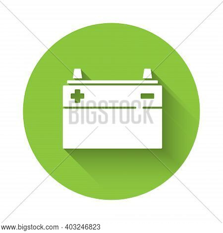 White Car Battery Icon Isolated With Long Shadow. Accumulator Battery Energy Power And Electricity A