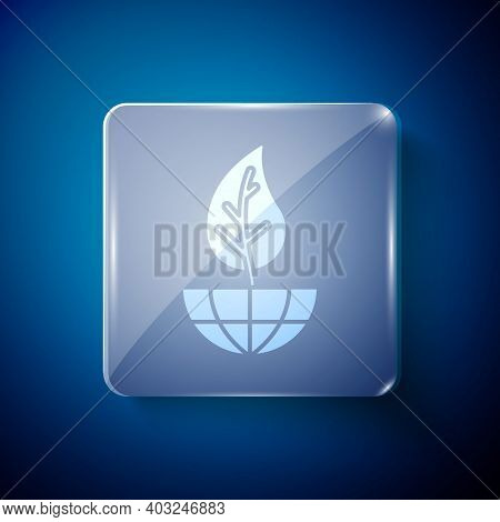 White Earth Globe And Leaf Icon Isolated On Blue Background. World Or Earth Sign. Geometric Shapes.
