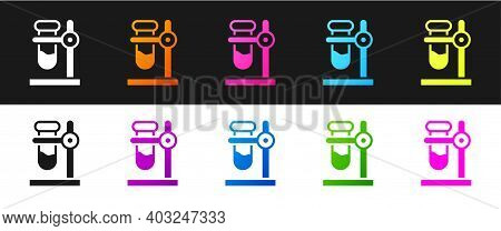 Set Glass Test Tube Flask On Stand Icon Isolated On Black And White Background. Laboratory Equipment