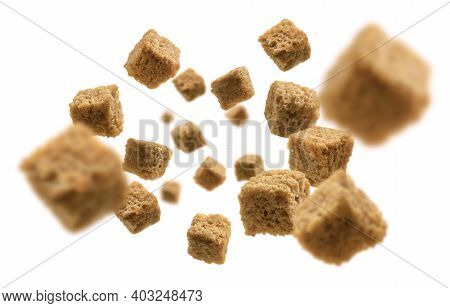 Bread Croutons Levitate On A White Background