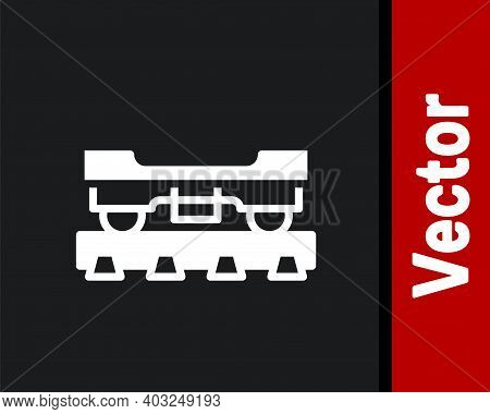 White Cargo Train Wagon Icon Isolated On Black Background. Freight Car. Railroad Transportation. Vec