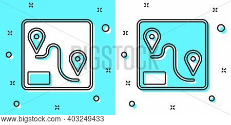 Black Line Route Location Icon Isolated On Green And White Background. Train Line Path Of Train Road