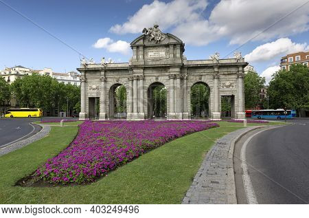 View Of The Famous Puerta De Alcala. Historical Monument In The City Of Madrid, Spain.