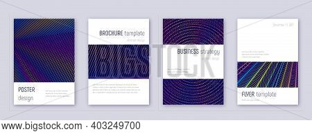 Art Business Card. Abstract Lines Modern Brochure Template. Red Vibrant Gradients Geometry On White