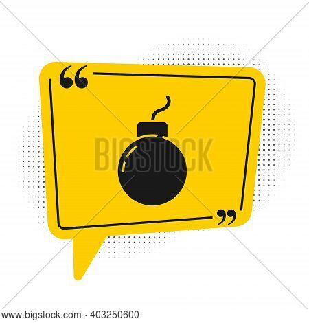 Black Bomb Ready To Explode Icon Isolated On White Background. Yellow Speech Bubble Symbol. Vector