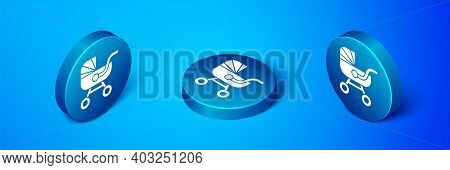 Isometric Baby Stroller Icon Isolated On Blue Background. Baby Carriage, Buggy, Pram, Stroller, Whee