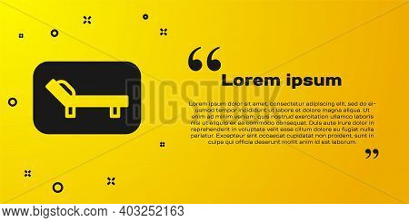 Black Sunbed Icon Isolated On Yellow Background. Sun Lounger. Vector