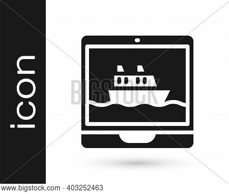 Black Cruise Ship Icon Isolated On White Background. Travel Tourism Nautical Transport. Voyage Passe