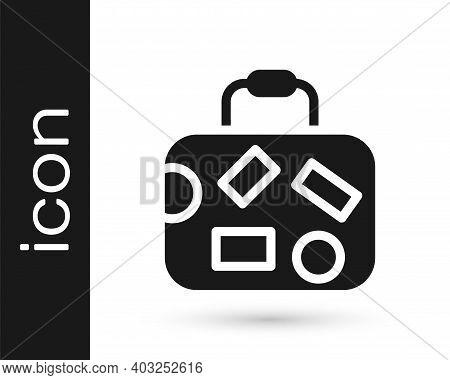 Black Suitcase For Travel Icon Isolated On White Background. Traveling Baggage Sign. Travel Luggage
