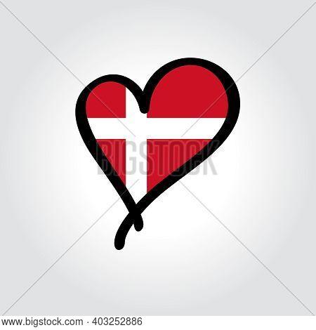 Danish Flag Heart-shaped Hand Drawn Logo. Vector Illustration.
