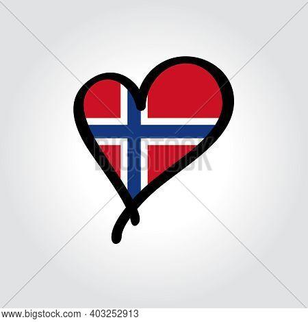 Norwegian Flag Heart-shaped Hand Drawn Logo. Vector Illustration.