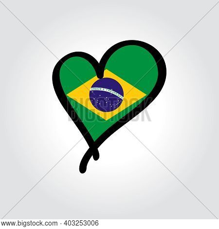 Brazilian Flag Heart-shaped Hand Drawn Logo. Vector Illustration.
