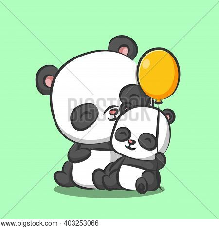 The Panda With Baby Panda Is Sitting Together And Playing The Balloon