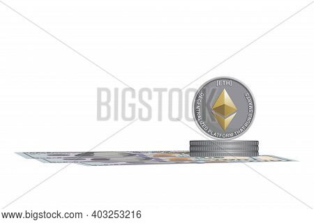 Digital Currency. Dollars. Cash One Hundred Dollar Bills, Silver Coins Ethereum. Business Concept. A