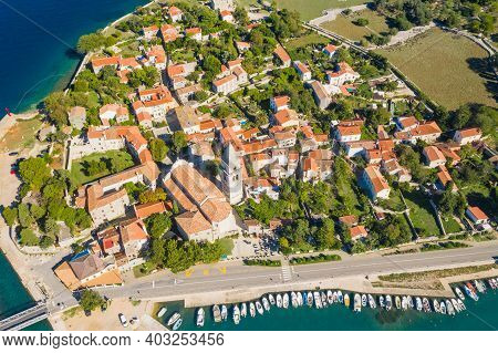 Panoramic View Of Old Historic Town Of Osor On The Island Of Cres, Croatia, Aerial View From Drone