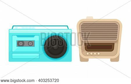 Retro Radio Receiver Or Wireless As Electronic Device Receiving Radio Waves Vector Set
