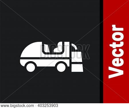 White Ice Resurfacer Icon Isolated On Black Background. Ice Resurfacing Machine On Rink. Cleaner For