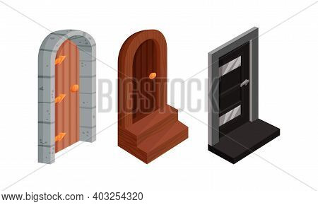 Isometric Doors With Threshold As Building And House Entrance Vector Set