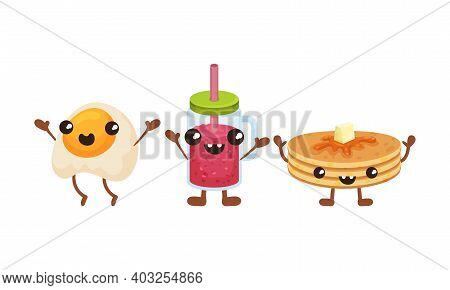 Smiling Kawaii Pancakes And Scrambled Egg With Face And Arms Vector Set
