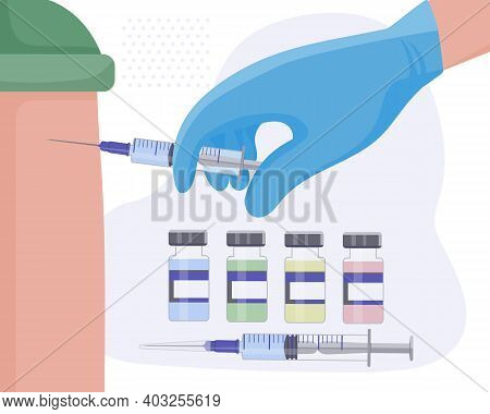 Conducting Regular Vaccinations Against Various Diseases And The Coronavirus Kovid-19. The Doctor In