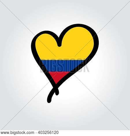 Colombian Flag Heart-shaped Hand Drawn Logo. Vector Illustration.