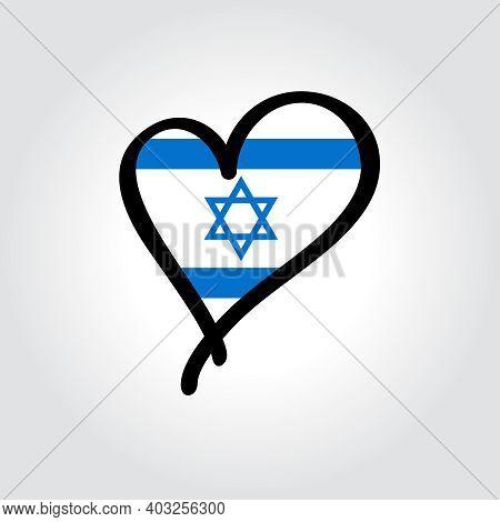 Israeli Flag Heart-shaped Hand Drawn Logo. Vector Illustration.