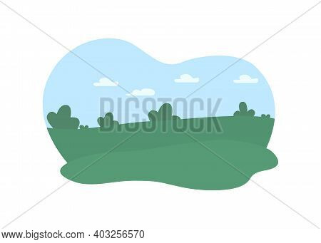 Outdoors Greenery 2d Vector Web Banner, Poster. Daytime Flat Landscape On Cartoon Background. Idylli