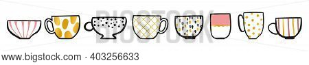 A Lot Of Handmade Cups, Mags With Gold Elements. Crockery Can Use How Sticker, For Web, Icons For Wo