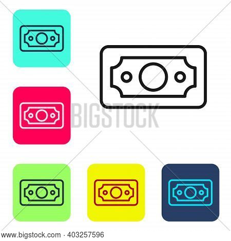 Black Line Stacks Paper Money Cash Icon Isolated On White Background. Money Banknotes Stacks. Bill C