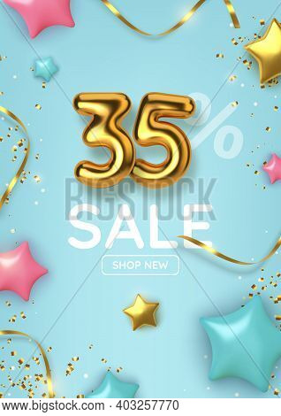 35 Off Discount Promotion Sale Made Of Realistic 3d Gold Balloons With Stars, Sepantine And Tinsel.