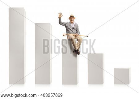 Elderly man sitting on a column from a chart and greeting with hand isolated on white background
